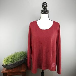 Life Is Good | Embroidered Cranberry Sweatshirt